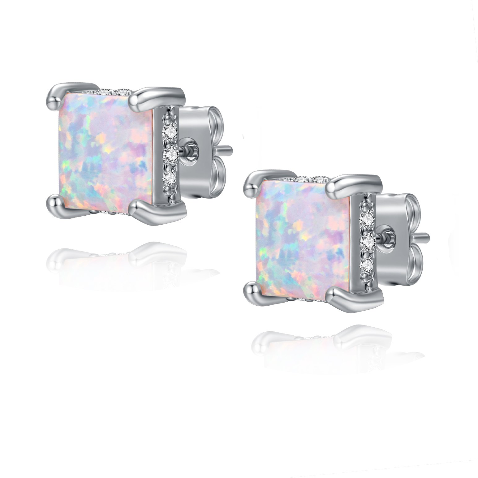 Opal studs 8mm Synthetic White Opal CZ Casual Earrings Princess Square for Women 18K White Gold Plated