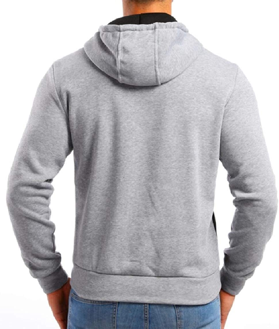 Yayu Mens Long Sleeve Slim Hoodies Color Block Stylish Pullover Sweatshirts