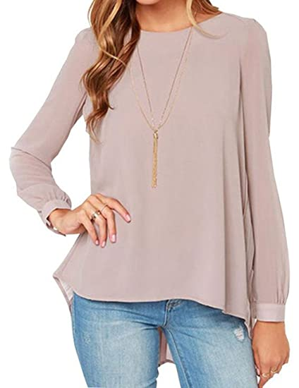 Amyove Fashion Womens Long Sleeve Shirt Slim Casual Blouse Chiffon Tops T-Shirt for Beautiful