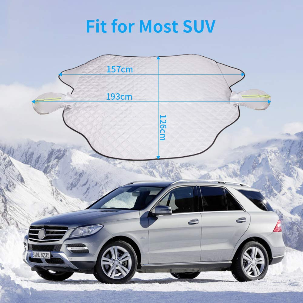 QUEES Car Windshield Snow Cover Ice Snow Frost Cover for Windscreen Car Sunshades with Magnetic Edges Thicker 4 Layers Waterproof Guard Covers