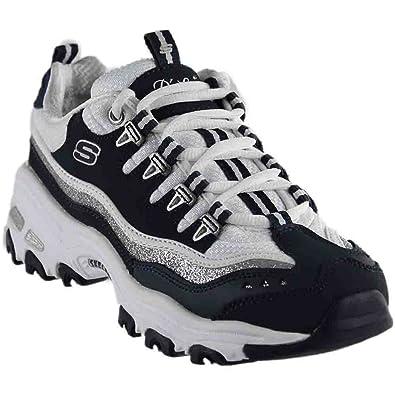 b713100b7c42 Skechers DLites New Retro Womens Sneakers Navy White 11  Amazon.co.uk   Shoes   Bags
