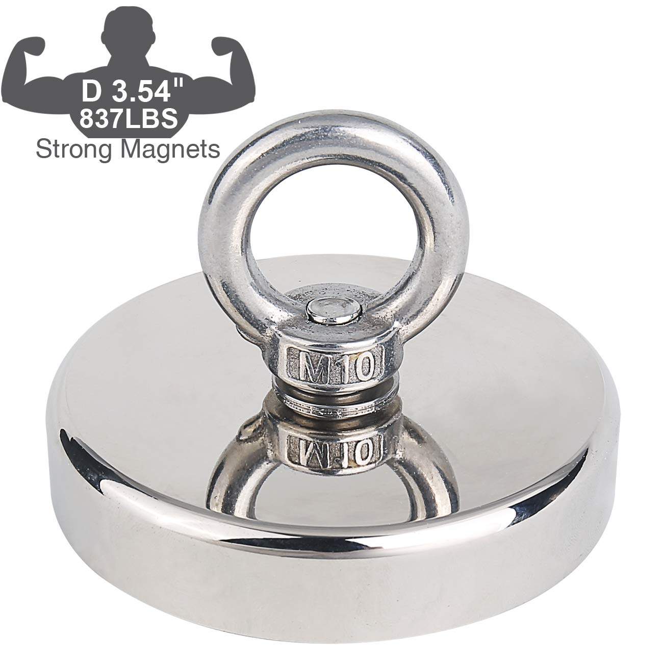 Fishing Magnet 837LBS Pulling Force Rare Earth Neodymium Magnet with Eyebolt Diameter 3.54 inch (90mm) Superior Magnetics for Underwater Salvage, Retrieval and Recovery