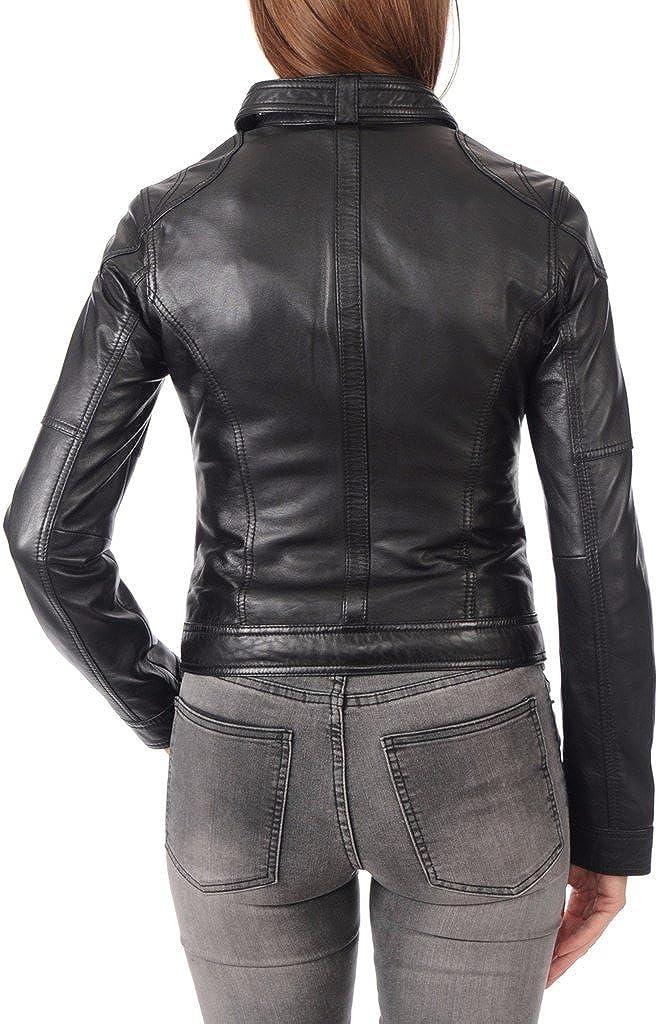 Leather Planet Womens Lambskin Leather Bomber Biker Jacket