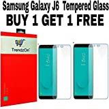 TrendzOn 9H Hardness Ultra Clear, Anti-Scratch, Bubble-free and Oil Stains Coating for Samsung Galaxy J6 (Transparent) - Pack of 2