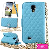 Galaxy S4 Case,OMIU(TM)Luxury Fashion Camellia Pendant Rhombus Handbag Metal Chain Style Superior Soft PU Leather Grid Purse Wallet Case Cover For Samsung Galaxy S4 i9500(Blue),Sent Screen Protector+Stylus+Cleaning Cloth