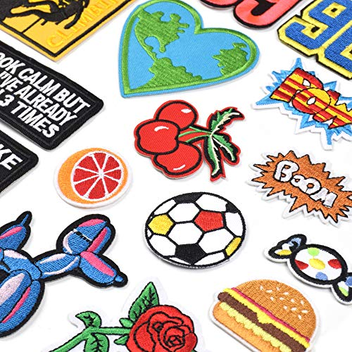 J.CARP Assorted Styles Cool Embroidered Iron Patch on Cute Sewing Applique Applique for Jacket Hat Backpack Jeans Sewing Flowers Applique DIY Accessory (22PCS)