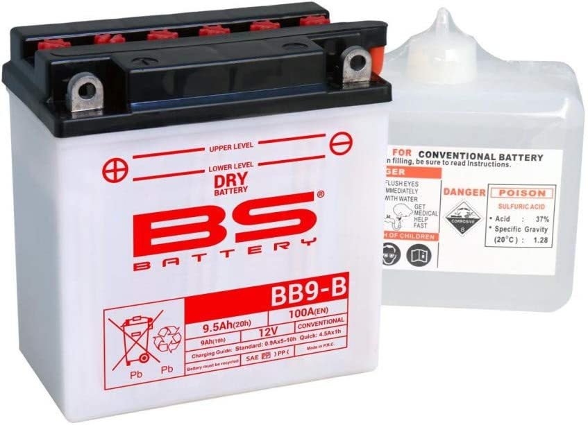 Batterie BS Battery 310596/BB9/de B Moto avec acide Pack Noir