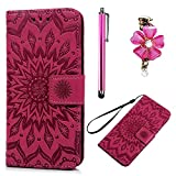 Samsung Galaxy Note 4 Case Wallet, Bonice 3 in 1 Accessory PU Leather Flip Folio Practical Book Style Magnetic Snap Wallet Case with [Card Slots] [Hand Strip] Premium Multi-Function Design Cover + Stylus Pen + Diamond Rhinestone Antidust Plug - Rose Red