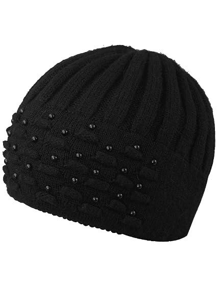 Dahlia Women s Angora Blend Beanie Hat - Dual Layer Pearl Accent Edge -  Black f618b360755