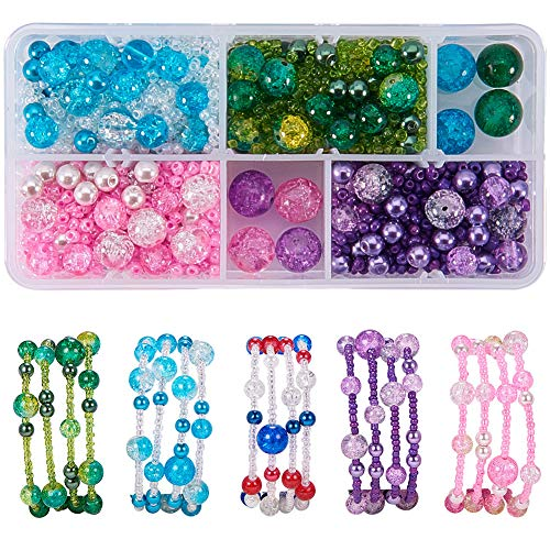 - SUNNYCLUE 1 Box 1400+ Pcs DIY 4 Strands 65mm Memory Wire Bracelet Making Starter Kit Jewelry Making Kit Include Crackle Glass Bead, Glass Seed Beads, Pearl Glass Beads and Memory Wire