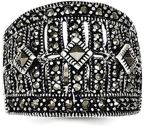 ICE CARATS 925 Sterling Silver Marcasite Band Ring Size 8.00 Fine Jewelry Gift Set For Women (Marcasite Set Ring)