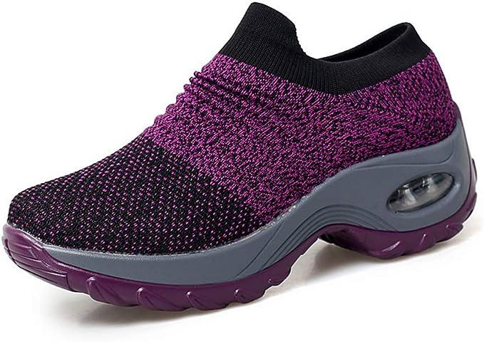 Zeaih Mujer Lona Zapatillas Running, Aire Transpirable Cojín Zapatillas, a Pie Conducción Exterior Zapatos para Correr Mujer - Morado, 35: Amazon.es: Hogar