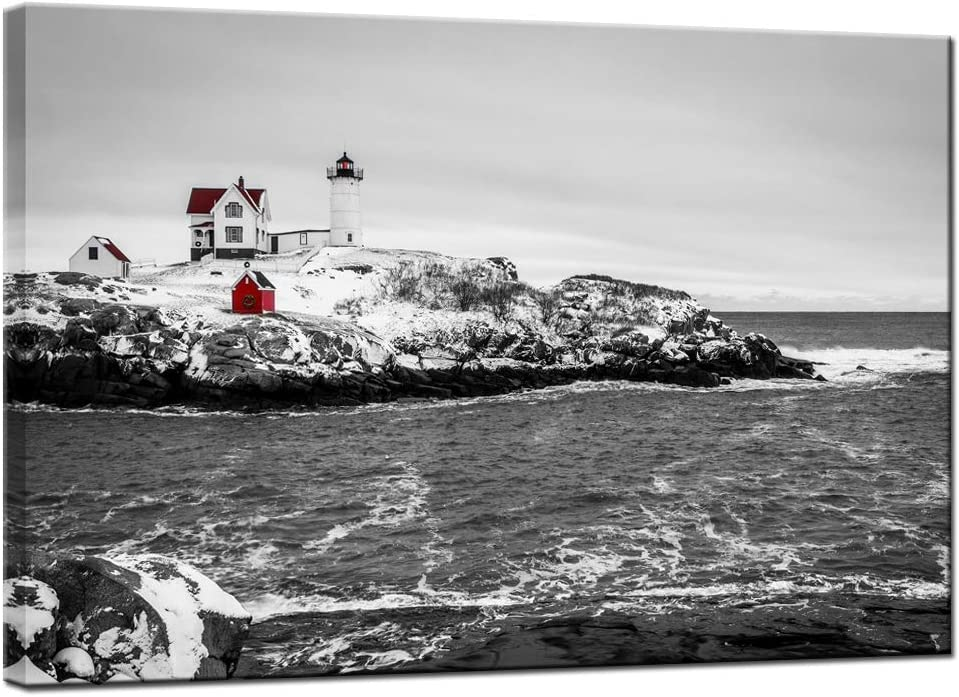 LevvArts Lighthouse Pictures Wall Art Black and White Red Nubble Light Cape Neddick Poster Print on Canvas with inner Wood Frame Maine Landscape Painting for Home Living Room Decor Ready to Hang