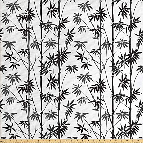 Lunarable Bamboo Fabric by The Yard, Monochrome Exotic Trees Pattern Asian Flora Garden Japanese Nature Artistic, Decorative Fabric for Upholstery and Home Accents, 1 Yard, Black Grey White