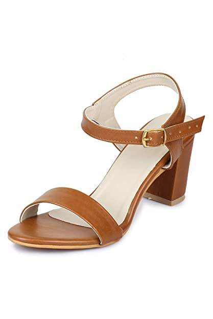 b26bbfa77d35 Funku Fashion Women Tan Block Heel Sandals  Buy Online at Low Prices in  India - Amazon.in