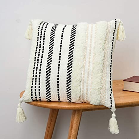 Blue Page Morocco Tufted Boho Throw Pillow Covers 18x18 Inch Comfy Cotton Woven Pillow Cases Modern Accent Pillows For Bed Stripe Textured Decorative Square Pillows Cover Only Black Off White