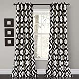 Lush Decor Diamond Ikat Room Darkening Window Curtain Panel Pair, 84' x 52', Black