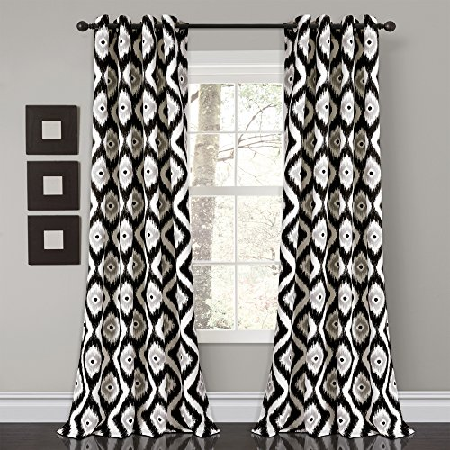 "Diamond Ikat Room Darkening Window Curtain Panel Pair 84"" x 52"" Black"