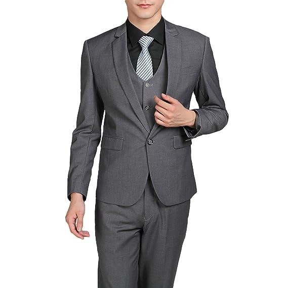 size 40 11326 ea94f Lilis® Herren One Button 3-teiliger Anzug Einreiher Notch ...