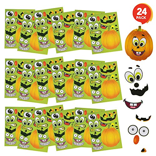 Halloween Craft For Kindergarten Party (ArtCreativity Make Your Own Jack-O-Lantern Face Sticker Set - 24 Sheets - Customizable Halloween Stickers for Kids, Fun Crafts Classroom Activity, Best for Halloween Party Favors, Goodie Bag)