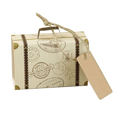 Amazon.com: LVOERTUIG 10pcs Mini Suitcase Wedding Favor Candy Box Vintage Kraft Paper with Tags and Burlap Twine for Wedding Bridal Party Decoration ...