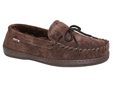 Men's Suede Classic Moccasin Slippers, CHOCOLATE, ...