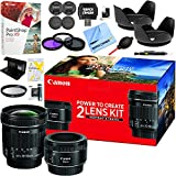Canon Portrait and Travel Two Lens Kit with EF 50mm f/1.8 STM Lens and EF-S 10-18mm f/4.5-5.6 IS STM Lenses Deluxe 49mm & 67mm Filter Set Pro Accessory Bundle