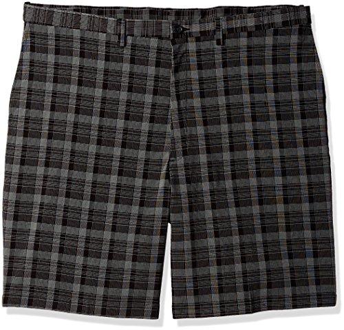 Haggar Men's Big and Tall B&t Cool 18 Pro Classic Fit Pinstripe Plaid Flat Front Short, Black, 46