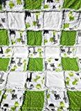 baby rag quilt giraffes green grey white black