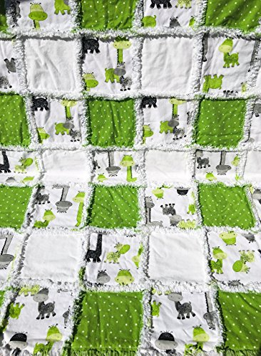 baby rag quilt giraffes green grey white black by Laughing Heart Designs