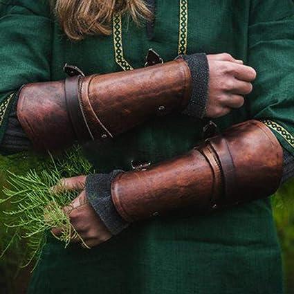 Liery Modische Outdoor-Armschutz Lederhandschuhe Cosplay Mittelalterlichen Armband Schutzausr/üstung