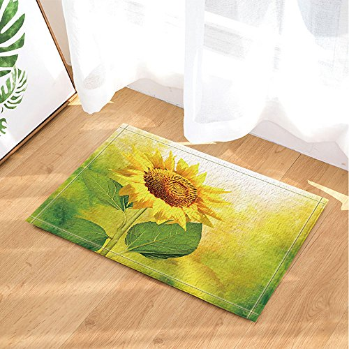 KOTOM Sunflower Decor, Splashing Sunflowers in Yellow Bath Rugs, Non-Slip Doormat Floor Entryways Indoor Front Door Mat, Kids Bath Mat, 15.7x23.6in, Bathroom Accessories