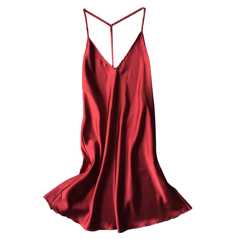 Fashion Womens Satin Sleepwear Babydoll Lingerie Nightdress Solid Plus Size Dress Red XL by Zcxss