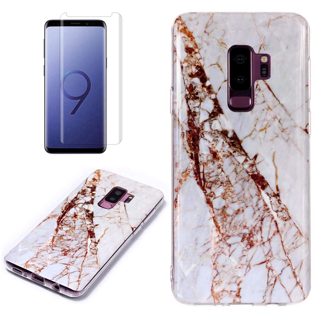 for Samsung Galaxy S9 Plus Marble Case with Screen Protector,Unique Pattern Design Skin Ultra Thin Slim Fit Soft Gel Silicone Case,QFFUN Shockproof Anti-Scratch Protective Back Cover - White