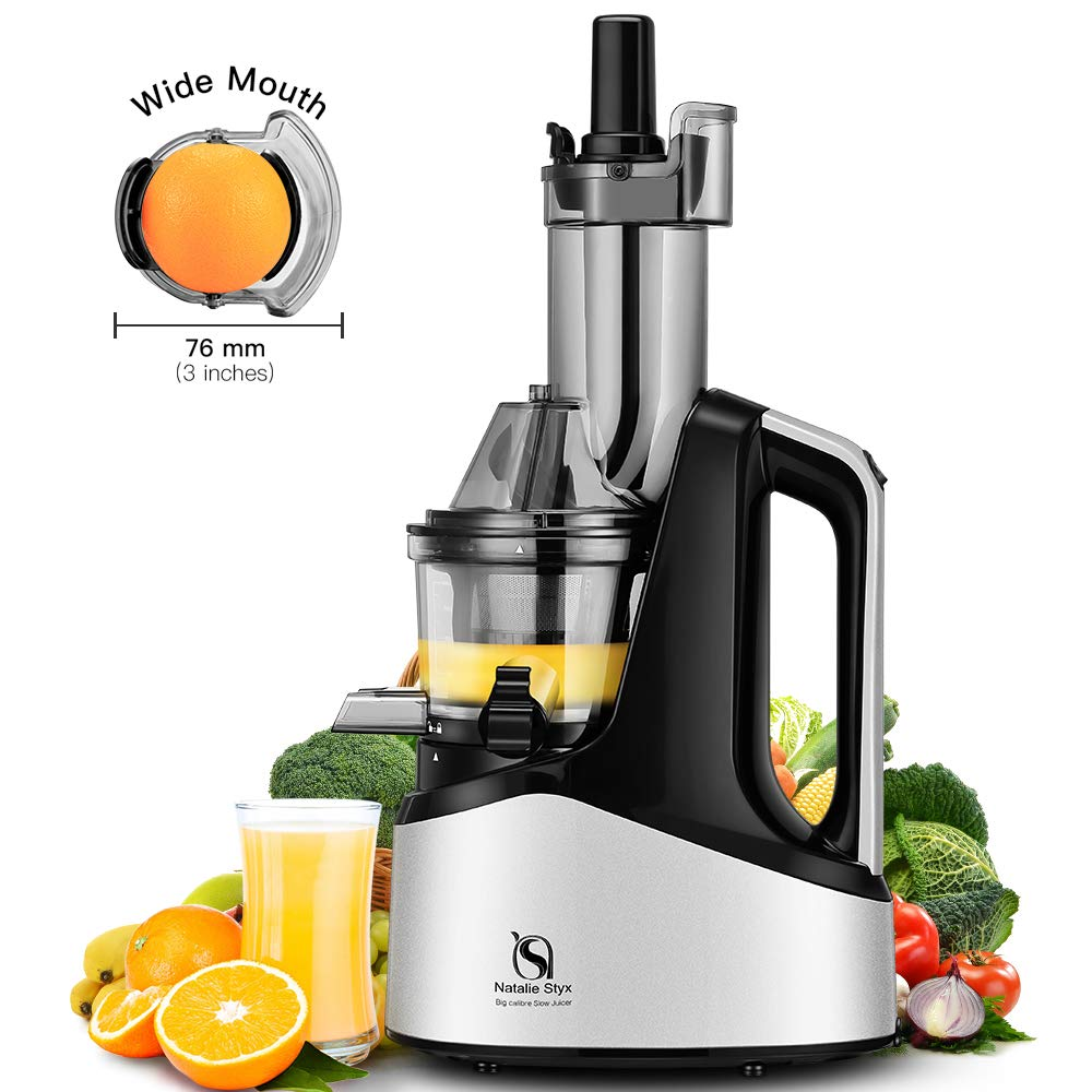 Juicer Masticating Slow Juicer Extractor, Natalie Styx Wide Chute Juice Cold Press Juicer Machine for Fruits & Vegetables, Quiet Motor & Reverse Function, High Juice Yield and Easy to Clean, Silver