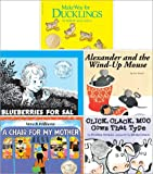 Caldecott Favorites Pack of 5 Paperback Books Includes Blueberries for Sal, Make Way for Ducklings, Alexander and the Wind up Mouse, Click Clack Moo, Cows That Type & a Chair for My Mother
