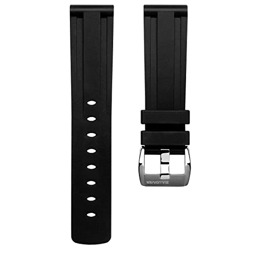 f9601dbc1 ZULUDIVER EPDM Rubber Premium Italian Diver Watch Strap Black,  Brushed/Polished Buckle, 22mm