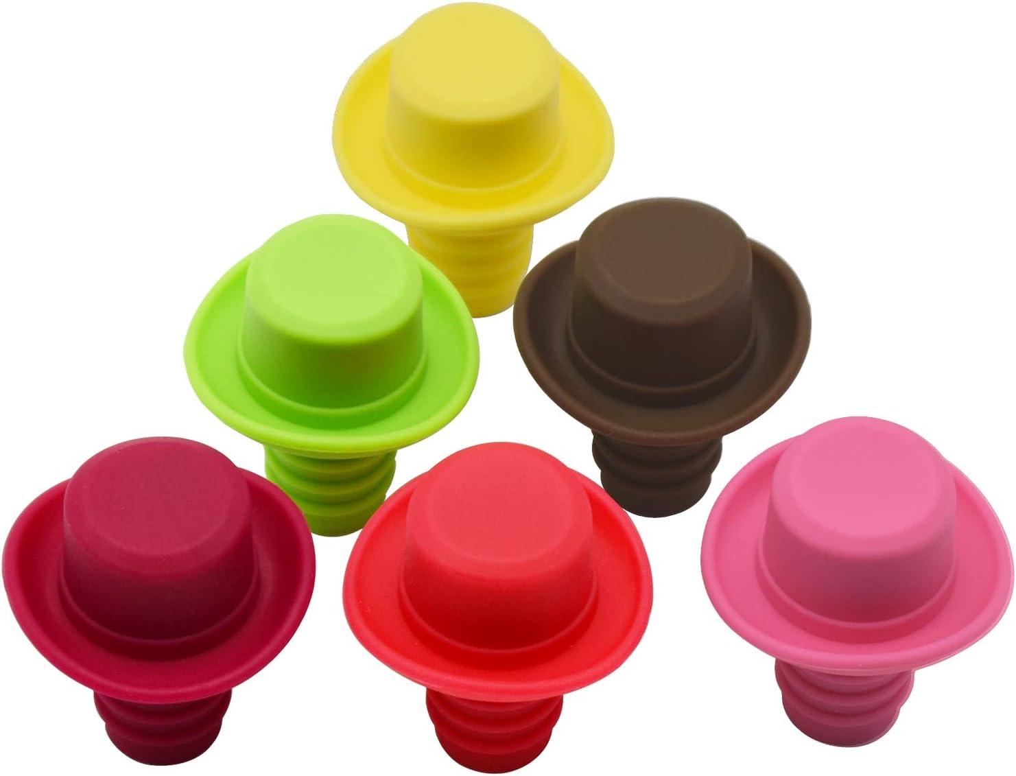 Silicona tapón para botella de vino con tapones de corcho, con Set de 6Rainbow Colored Fits para sellar y preservar su vino favorito