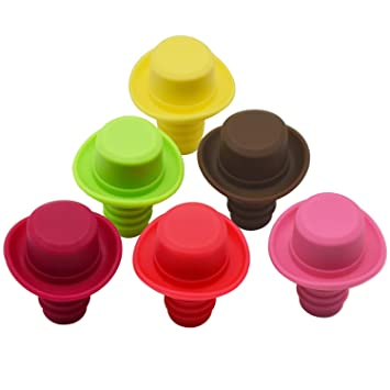 Silicona tapón para botella de vino con tapones de corcho, con Set de 6 Rainbow