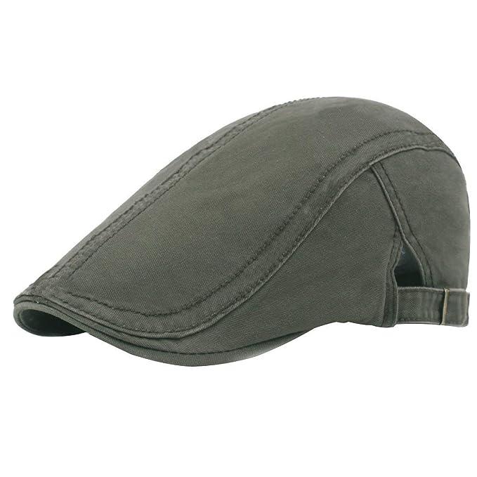 Boina para Hombre Algodón Vintage Gorra Sombrero De Plana Conducción Moda Color Mode De Marca Sólido