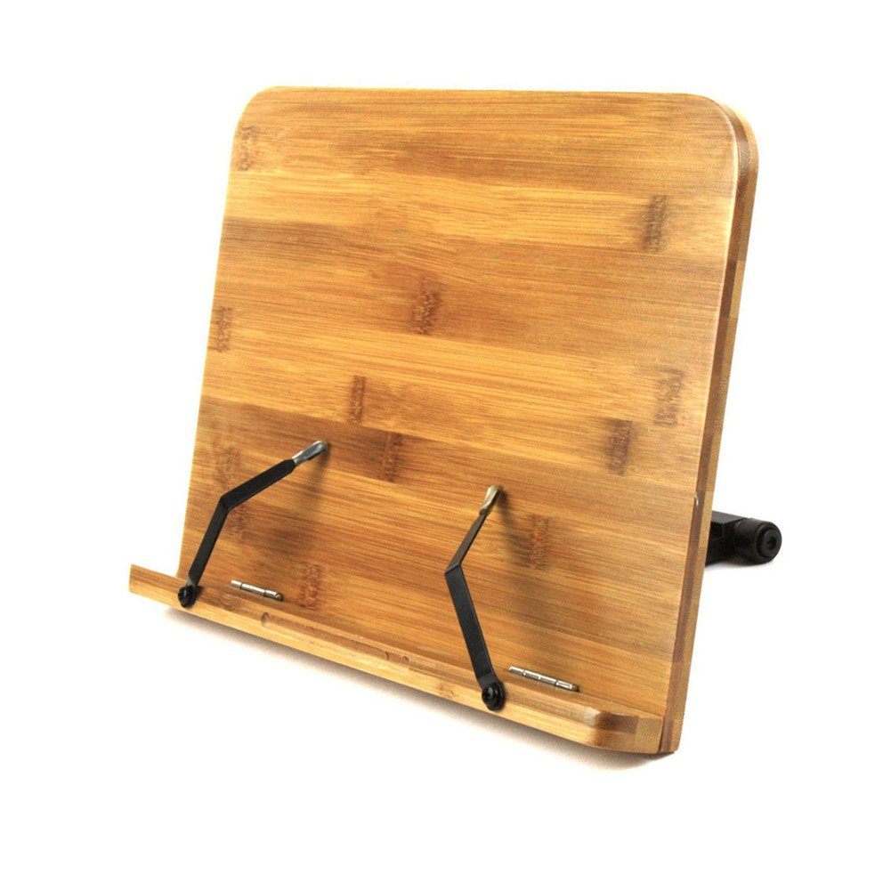 Book Stand Holder & Reading Rest, Homeself BamBoo Cookbook Cook Book Holder, iPad & Tablet Holder for Kitchen ,Home and Office (BamBoo)