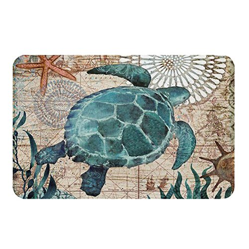 (Econie Sea Turtle Door Mat Ocean Animal Home Bathroom Bath Shower Bedroom Mat Toilet Floor Door Mat 15.7X23.6 in (01))