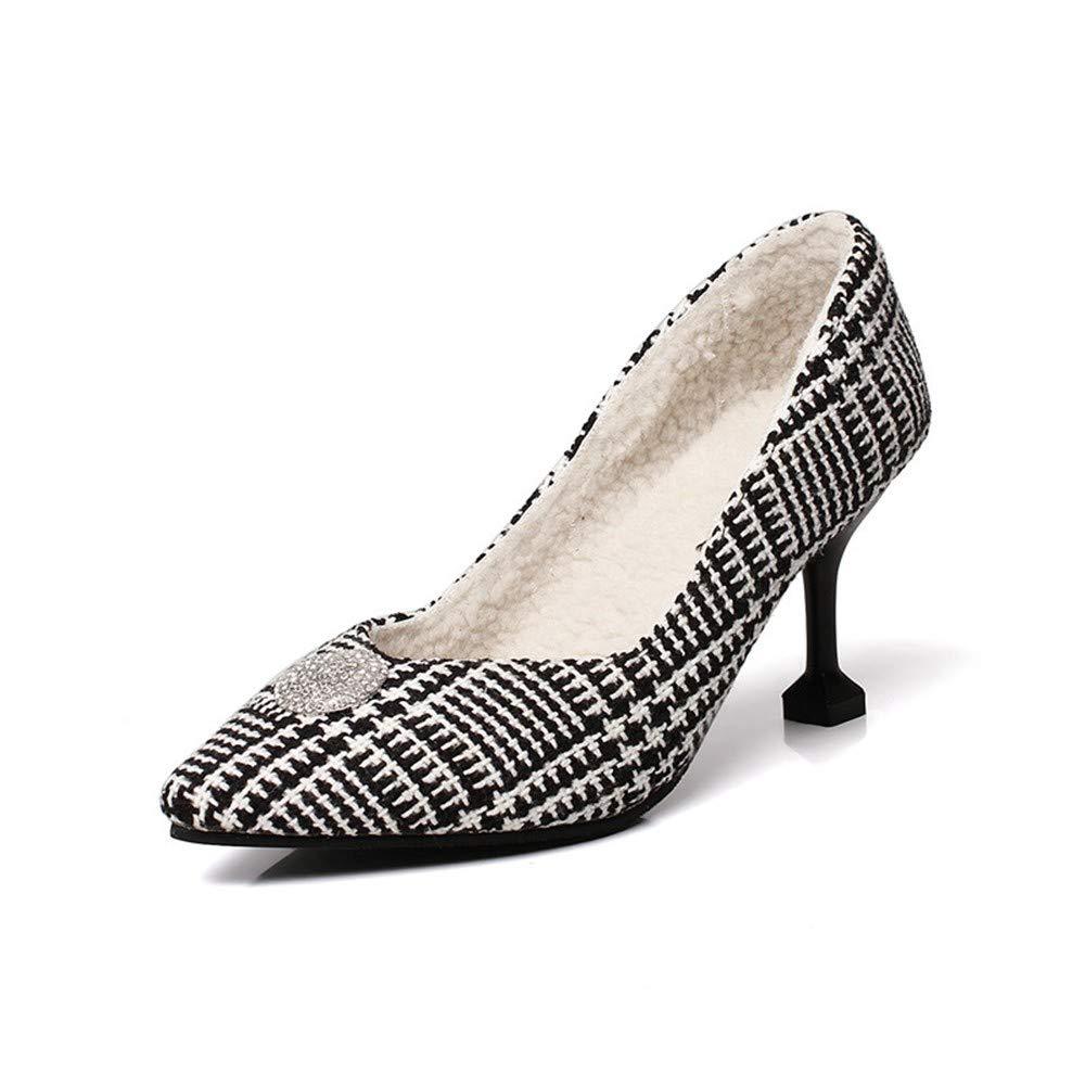 UENGF High Heel Spitze Einzelne Stiefel High Heel Damenschuhe Herbst Und Winter Erhöhte Größe 32-48 Einfache Damen Einzel Stiefel