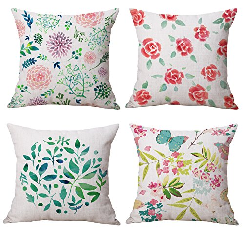 Spring Floral Pillow - Spring Home Decorative Blossom Floral Square Throw Pillow Cover Set of 4, 18 X 18 Inches