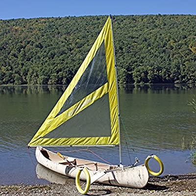 Serenity Upwind Kayak Sail and Canoe Sail System (Yellow). Complete with Telescoping Mast, Boom, Outriggers, Lee Boards, All Rigging Included! Compact, Portable, Easy to Set up - Start Sailing in the New Year!