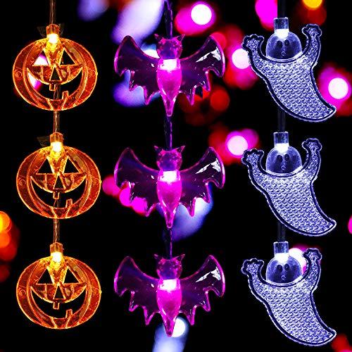 Wholesale joylamp Halloween String Lights,Set of 3 Halloween Lights 11.5 Feet Battery Powered 30LEDs Halloween Decorations Lights Indoor Outdoor - White Ghosts, Purple Bats, Orange Pumpkins hot sale