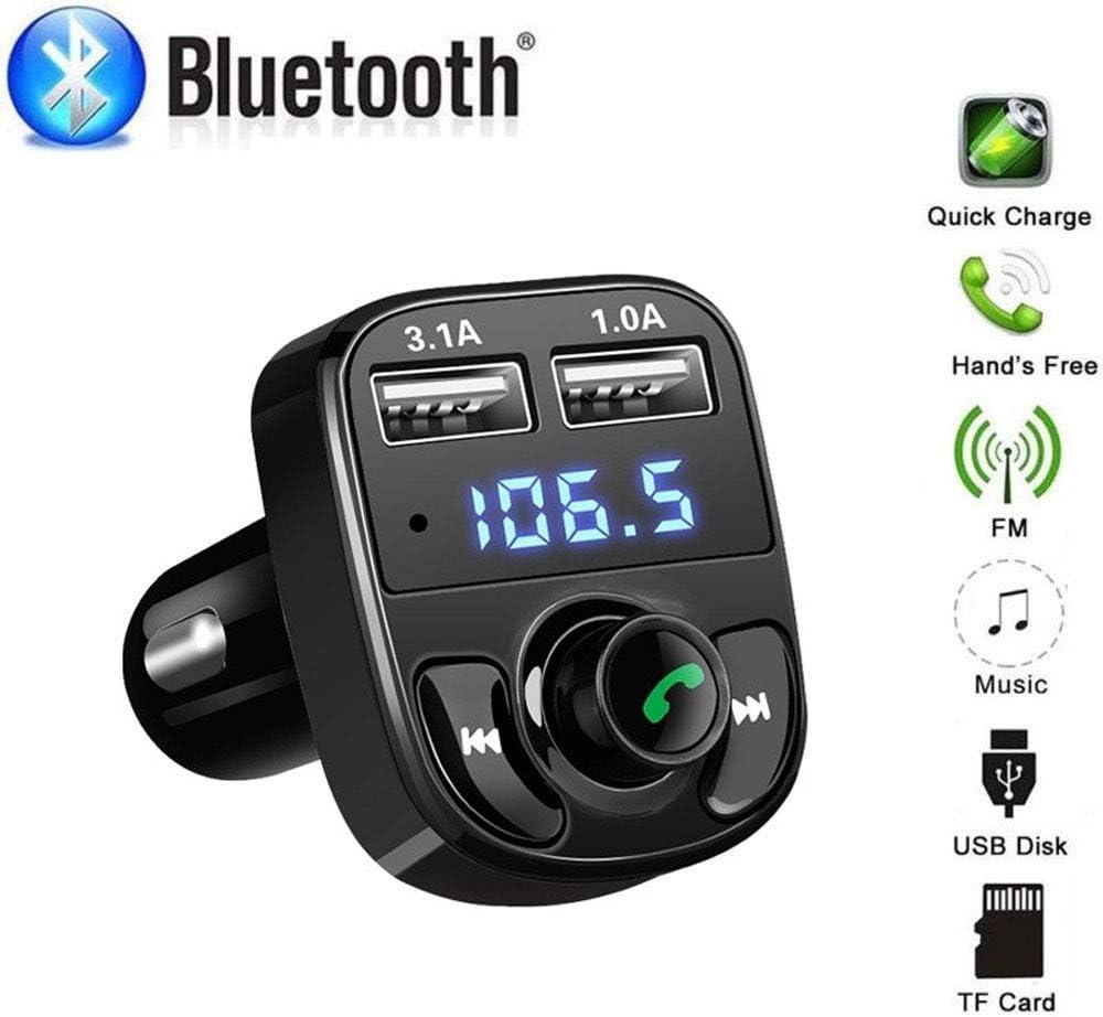Turbobm Chargeur de Voiture Kit de Voiture Mains Libres sans Fil Bluetooth pour v/éhicule Transmetteur FM Musique Lecteur MP3 Adaptateur de Chargeur USB Double Chargeur de Voiture USB