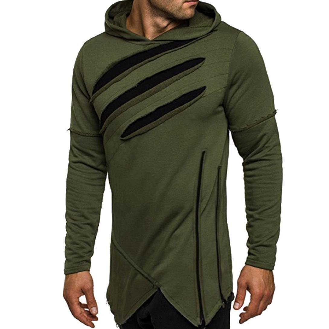 HTHJSCO Men's Eco Zip Hoodie Sweatshirt, Mens Slim Fit Sleeveless Lightweight Zip-up Hooded Vest with Zipper Trim (Army Green, L)