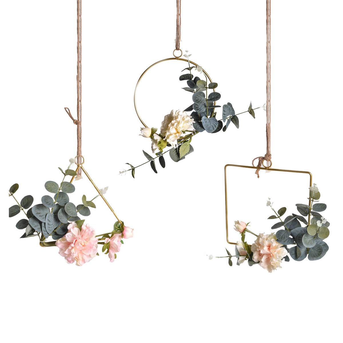 Pauwer Floral Hoop Wreath Set of 3 Artificial Peony Flower and Eucalyptus Vine Wreath for Wedding Party Backdrop Decor by Pauwer