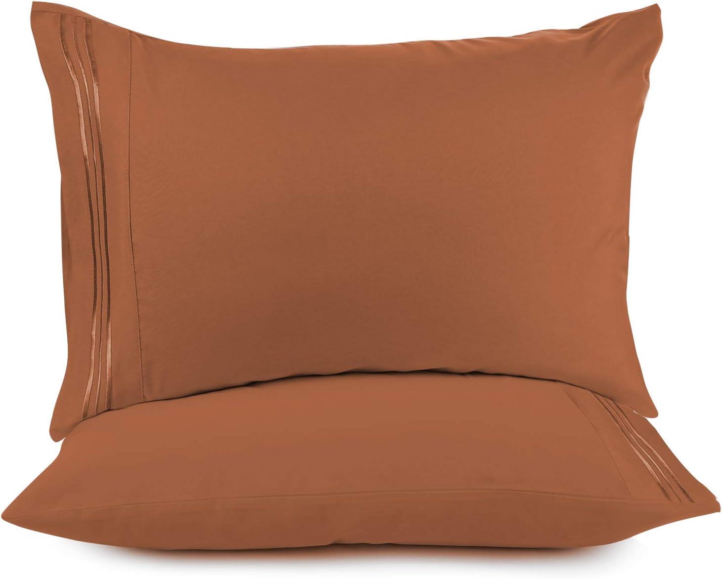 Nestl Bedding Solid Microfiber Queen/Standard 20 x 30 Inches Pillowcases, Orange Rust (Set of 2)